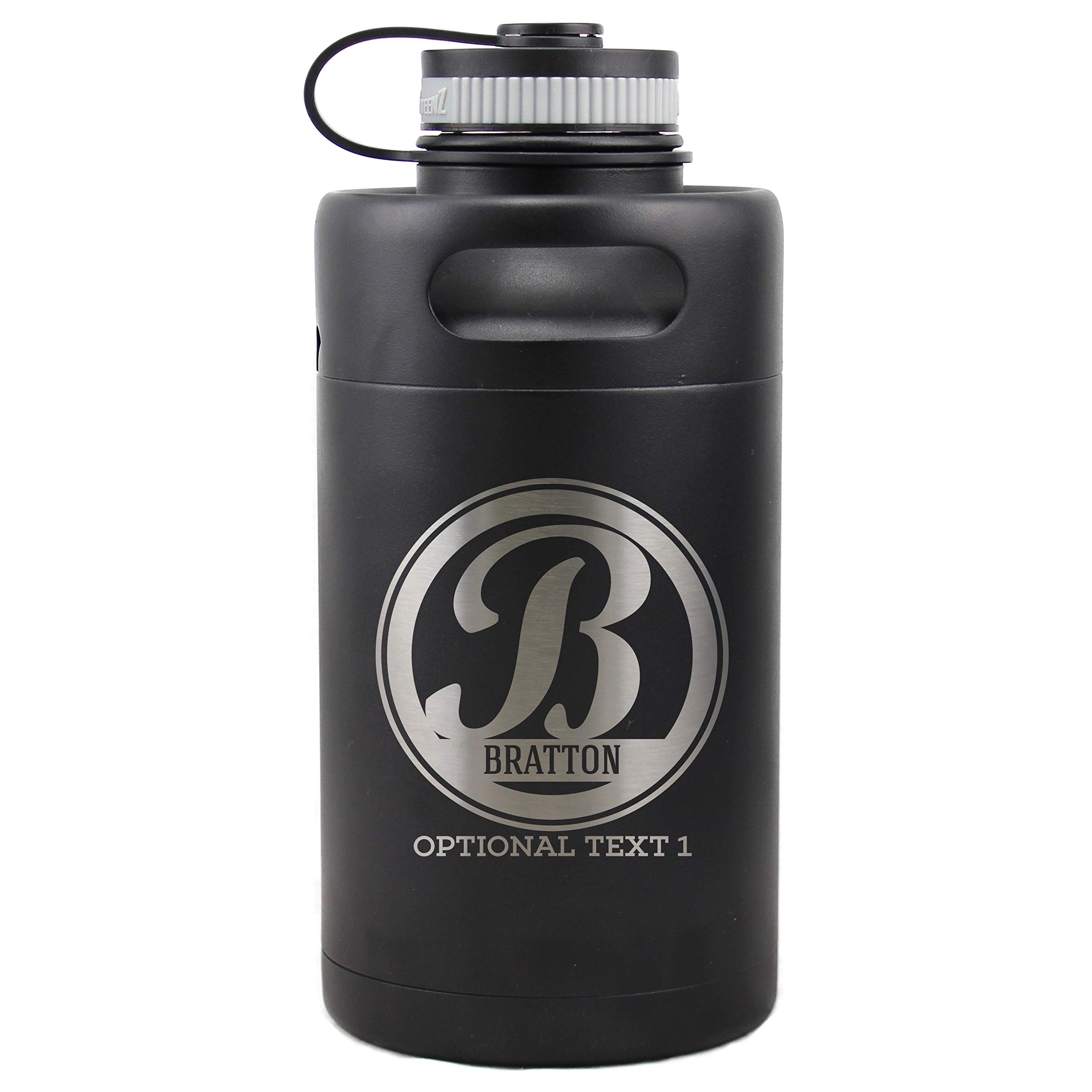 Personalized Etched Monogram Insulated Beer Growler 64oz Keg (Matte Black)