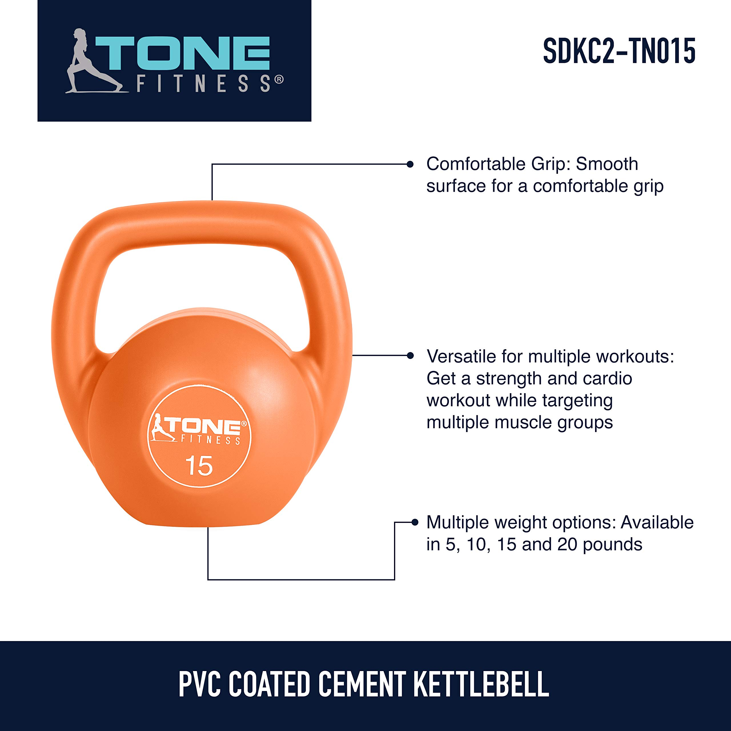 Tone Fitness Vinyl Kettlebell, 15-Pound, Orange by Tone Fitness (Image #6)
