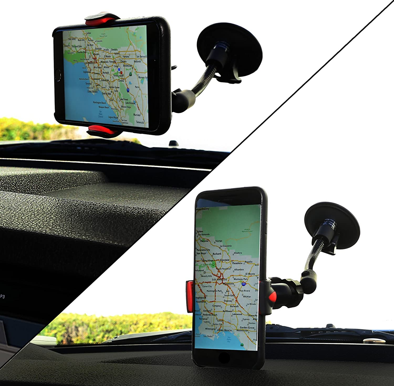 Connectland Universal Windshield Glass Surface Clamp 4 Inch Arm Car Mount Cradle Holder for Phones CL-ACC62060 Syba
