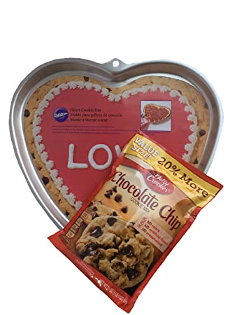 Heart Shaped Cookie Pan & Chocolate Chip Cookie Mix Bundle (value size 20% more