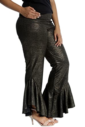 c5622bfb132b8 Nouvelle Collection New Womens Plus Size Trousers Ladies Frill Cuffs  Palazzo Foil Gold Party Shiny Flared Cuffs Style: Amazon.co.uk: Clothing