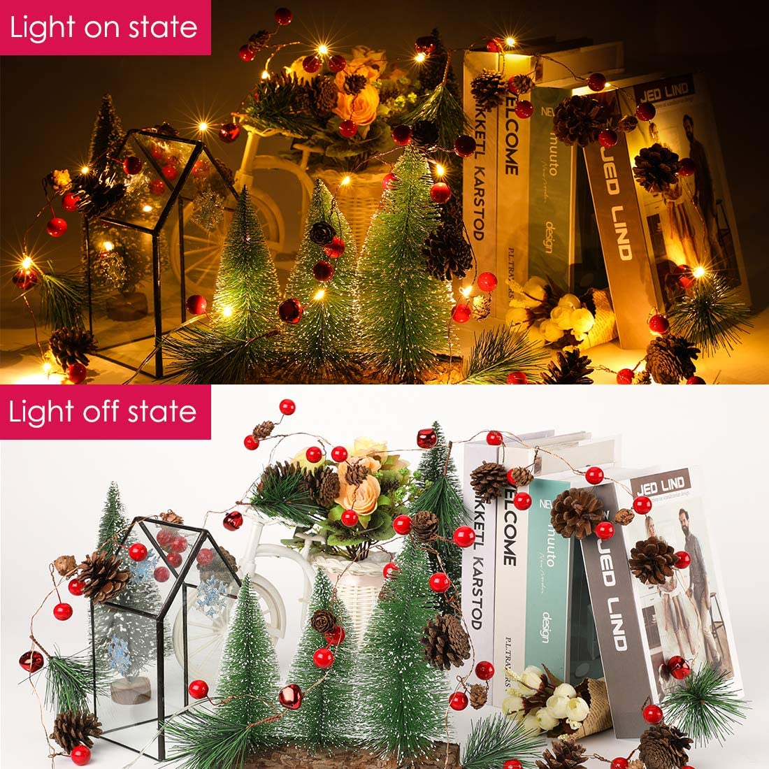6.5FT 20 LED Christmas Garland with Lights led Garland String Lights Red Berry Pine Cone Garland Lights Battery Operated Garland for Fireplace Christmas Decorations for Home