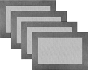 BECHEN Vinyl Placemats Heat-Resistant Table Mats Washable Easy Clean Plastic Placemats for Dining Table Set of 4(Dark Silver)