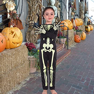 Halloween Skeleton Costume,Glow in The Dark Skull Costume with Gloves,Scary Jumpsuit for Kids Boys Girls,4-12Years Black: Clothing