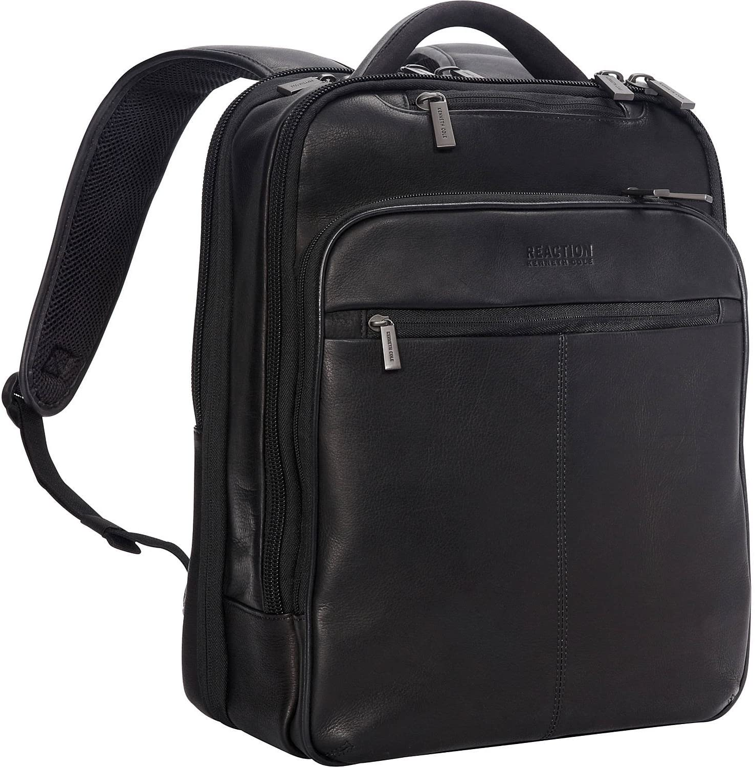 "Kenneth Cole Reaction Manhattan Colombian Leather Slim 16"" Laptop & Tablet RFID Business Backpack, Black, Medium"