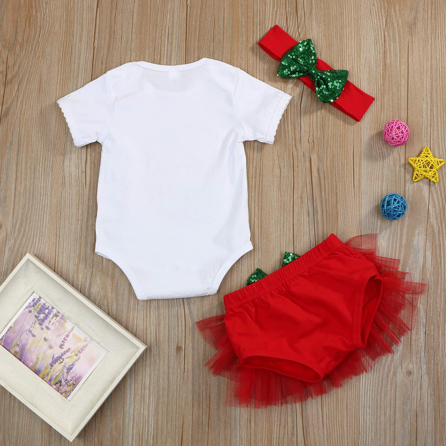 Christmas Outfits Set Baby Girls My First Christmas Lace Sleeves Romper Pleated Tutu Pantskirt