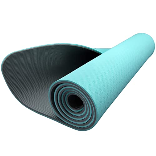 ZIVA Extra Thick Non-Slip TPE Grade Yoga Mat - Non Toxic, Eco Friendly, Portable Exercise Mat for Pilates, Core Strength Training 8 mm., Turquoise