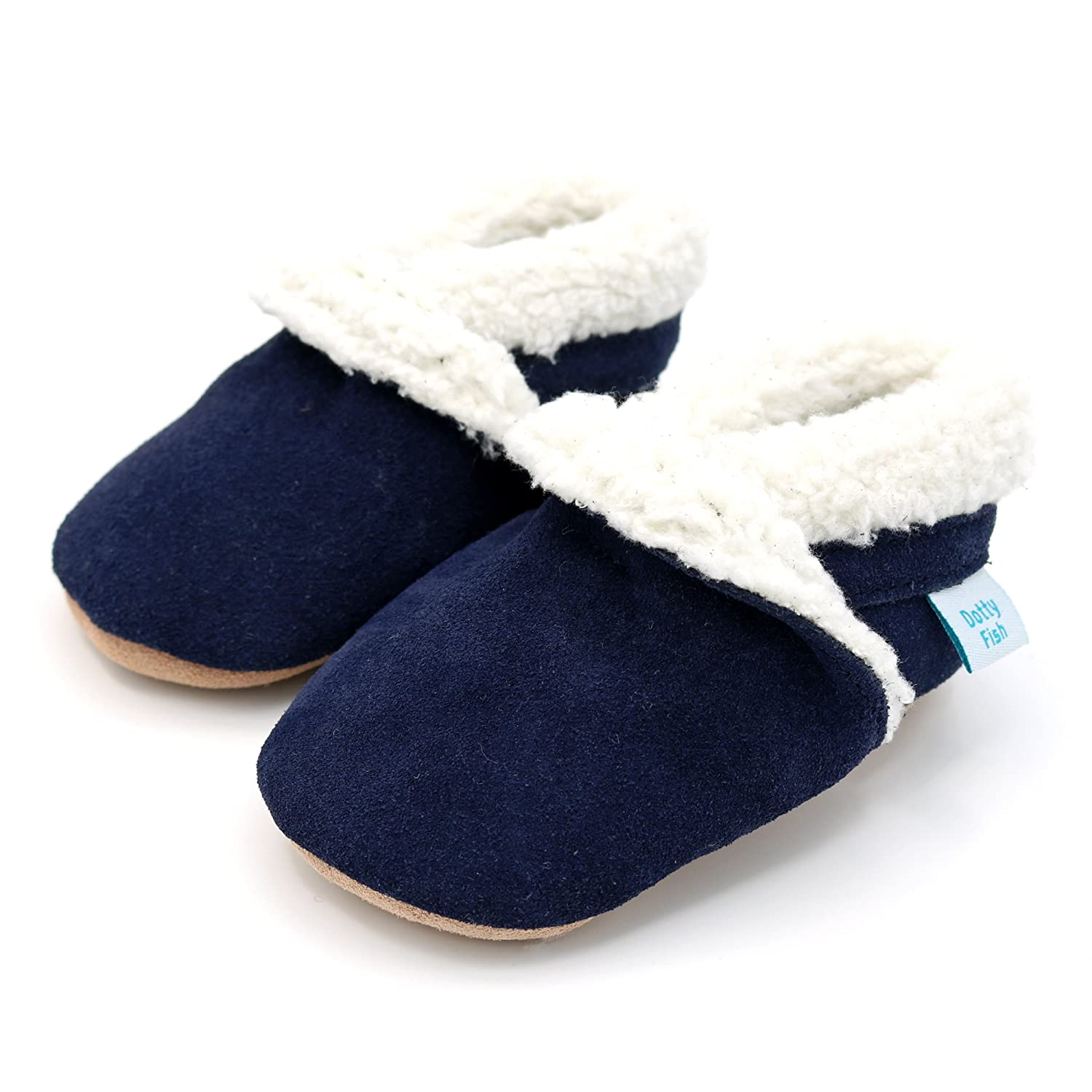 9919fd3fa79f2 Dotty Fish Suede Baby Slippers. Fleece Lined. 0-6 Months to 4-5 Years.  Navy, Soft Grey, Pink and Tan. Non-Slip Soft Sole. Toddler. Young Kids.