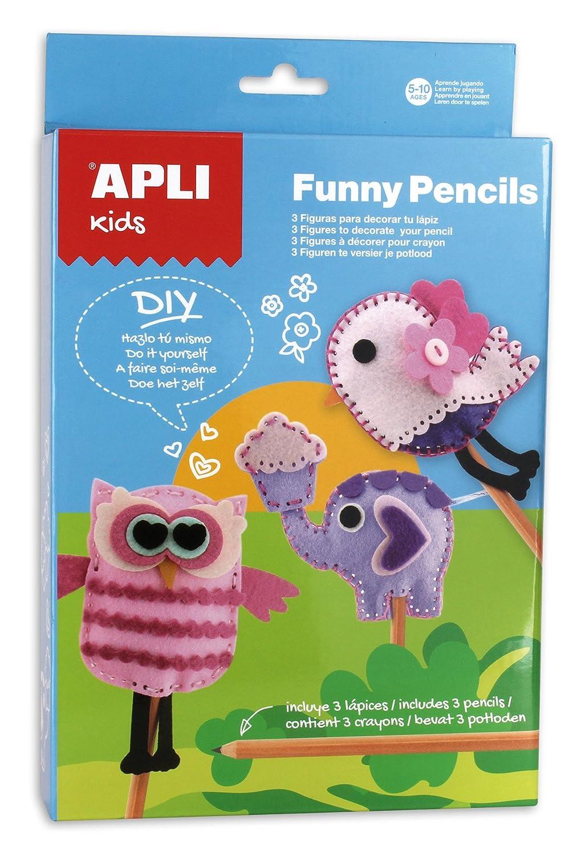 APLI Apli13813 おもしろ鉛筆フェルトトッパーキット (3ピース) B00O41VI3Y
