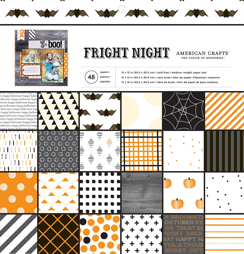 American Crafts 48 Sheet Halloween Patterned Paper Pad Fright Night, 12 x 12 340047
