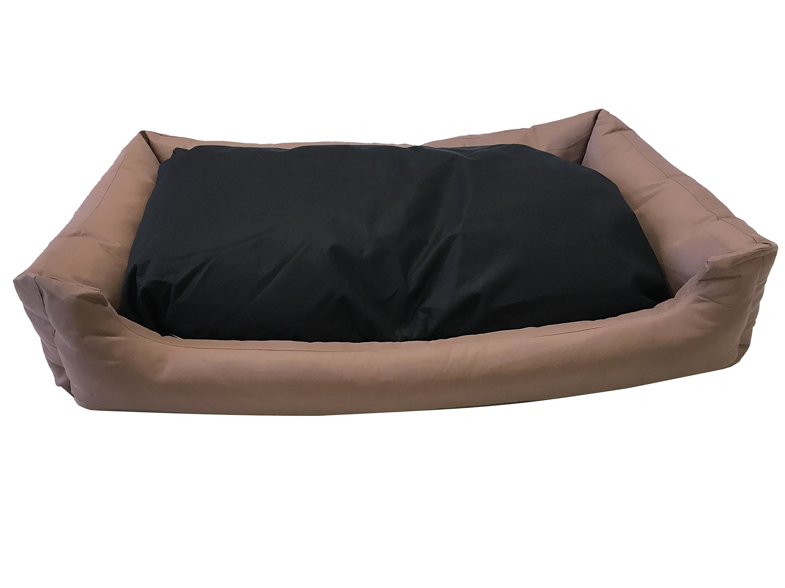 eConsumersUSA Dog Bed Stuffed Pillow with Polyester filling; Durable External OXFORD fabric Waterproof Anti Slip Cover and Inner Liner Included for Small to Large Dogs (54x37 inches, Brown)