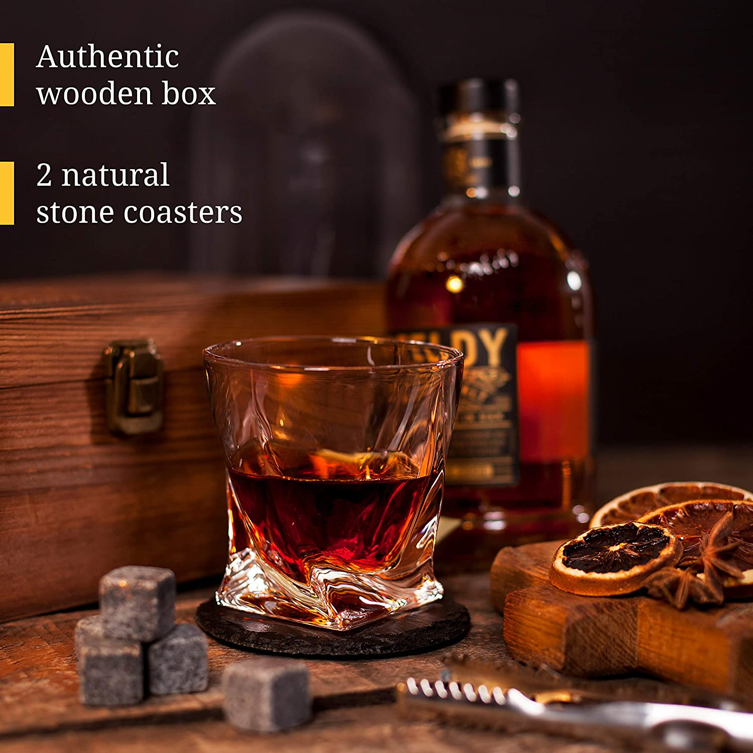 Chilling Stones /& Bar Glasses Whiskey Glassware in Wooden Gift Box Twist Scotch Rocks Tongs Coasters Bourbon Whiskey Stones Gift Set Whiskey Glass Set of 2 Drinking Glasses for Men /& Woman