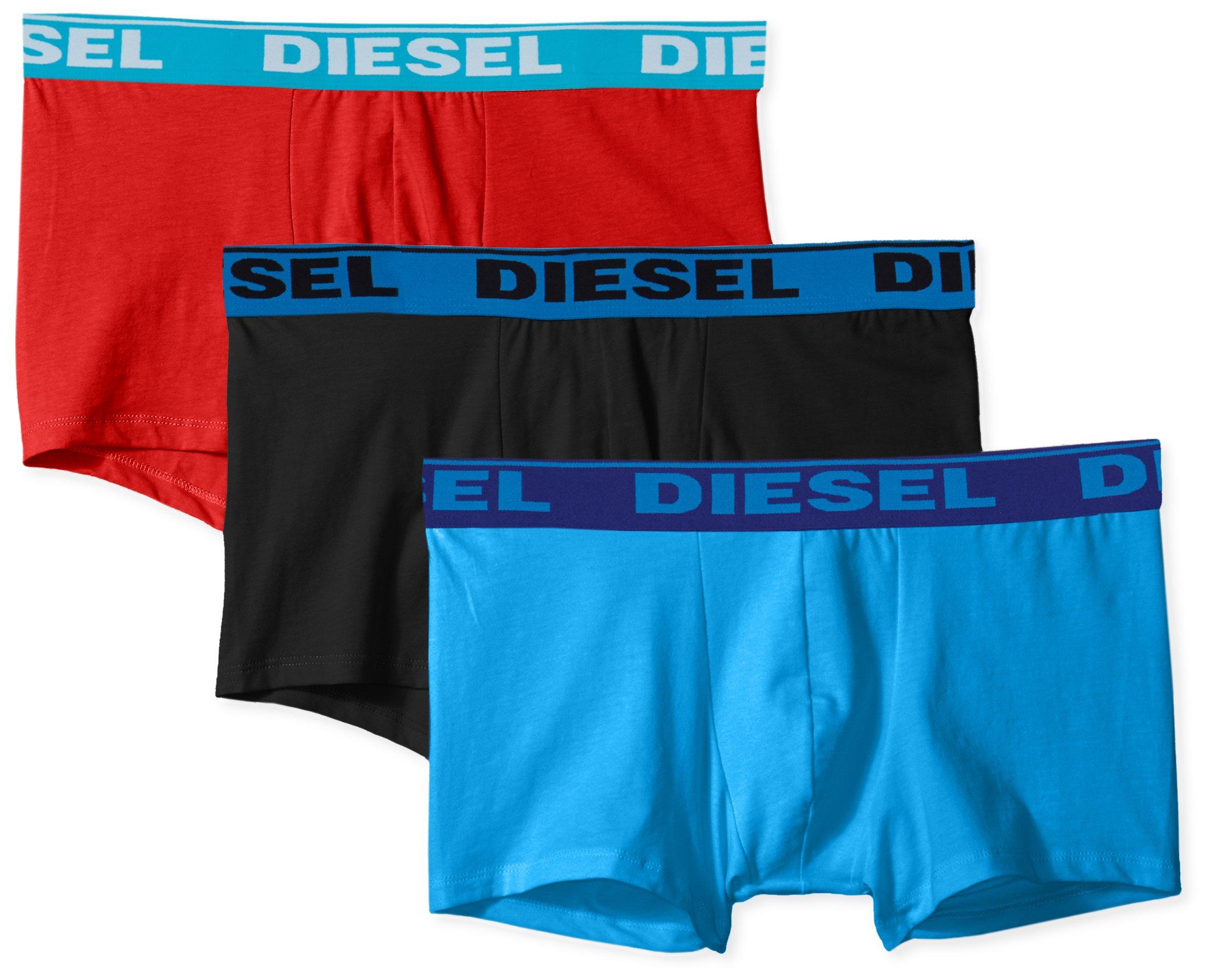 DIESEL Fresh /& Bright Boxer Trunks Mens Underwear 3 Pack Blue Shorts 100/% Cotton