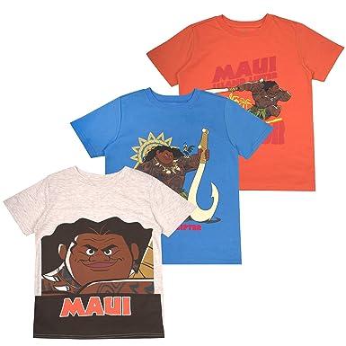 ca9a5772 Amazon.com: Moana Disney Maui and HeiHei Toddler Boys' Short Sleeve T-Shirt  (Pack of 3): Clothing