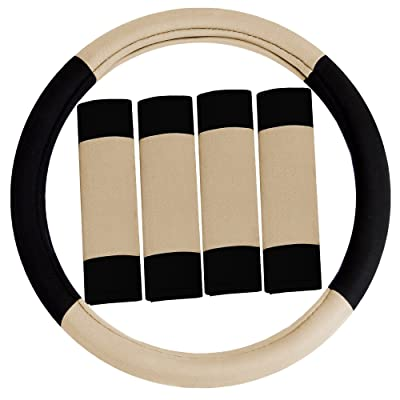 FH Group FH2033BEIGE Steering Wheel Cover (Modernistic and Seat Belt Pads Combo Set Beige): Automotive