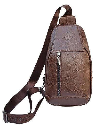 Men PU Leather Chest Sling Packs Shoulder Cross Body Bag Sports Satchel Backpack