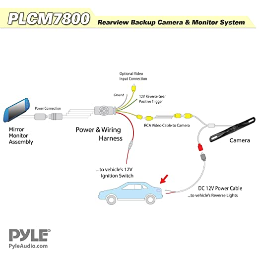 812QUg8EunL._SX522_ amazon com pyle plcm7800 vehicle backup camera & mirror monitor plcm7200 wiring diagram at nearapp.co