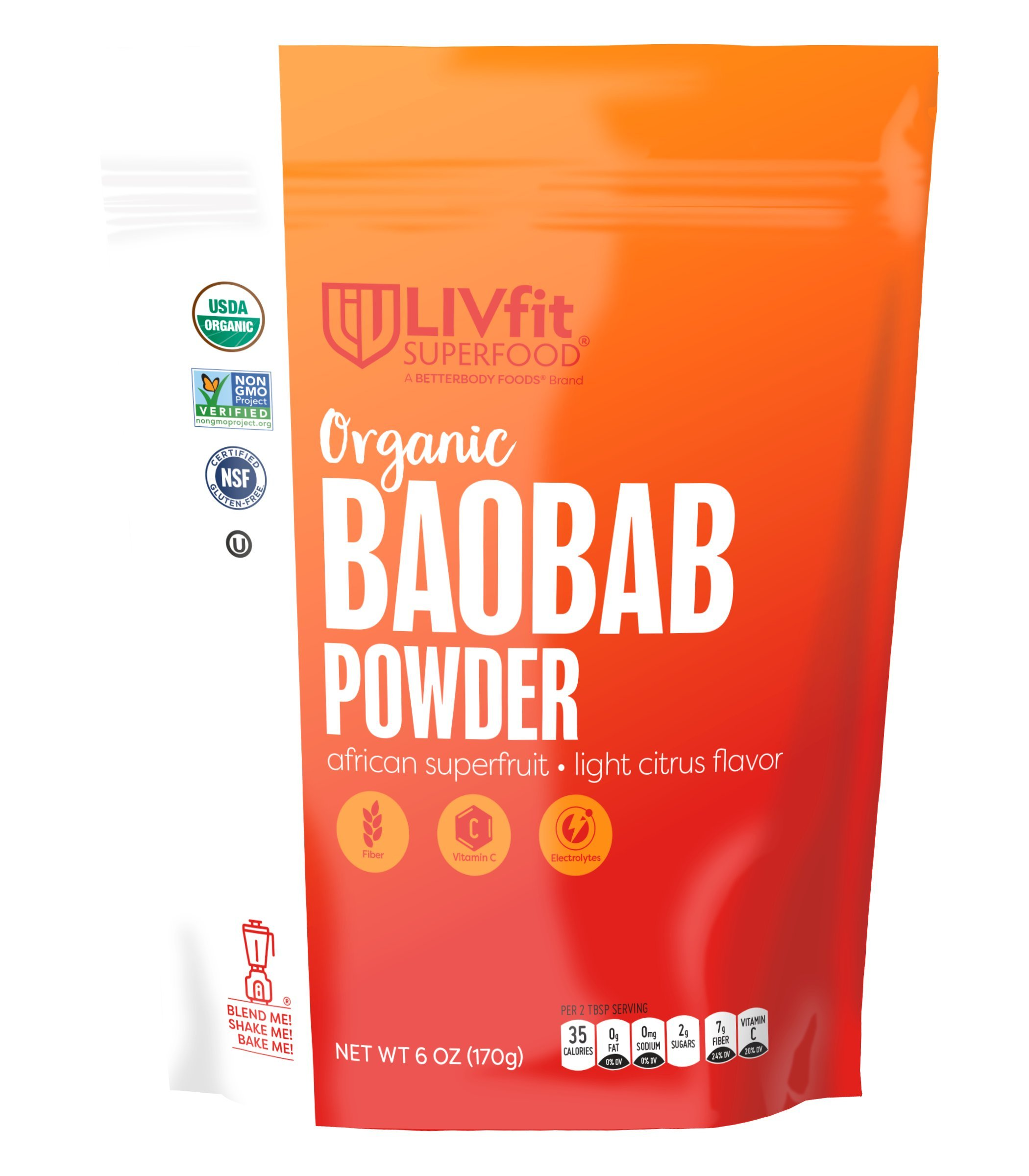LIVfit Superfood Organic Baobab Super Fruit Powder, 6 Ounce