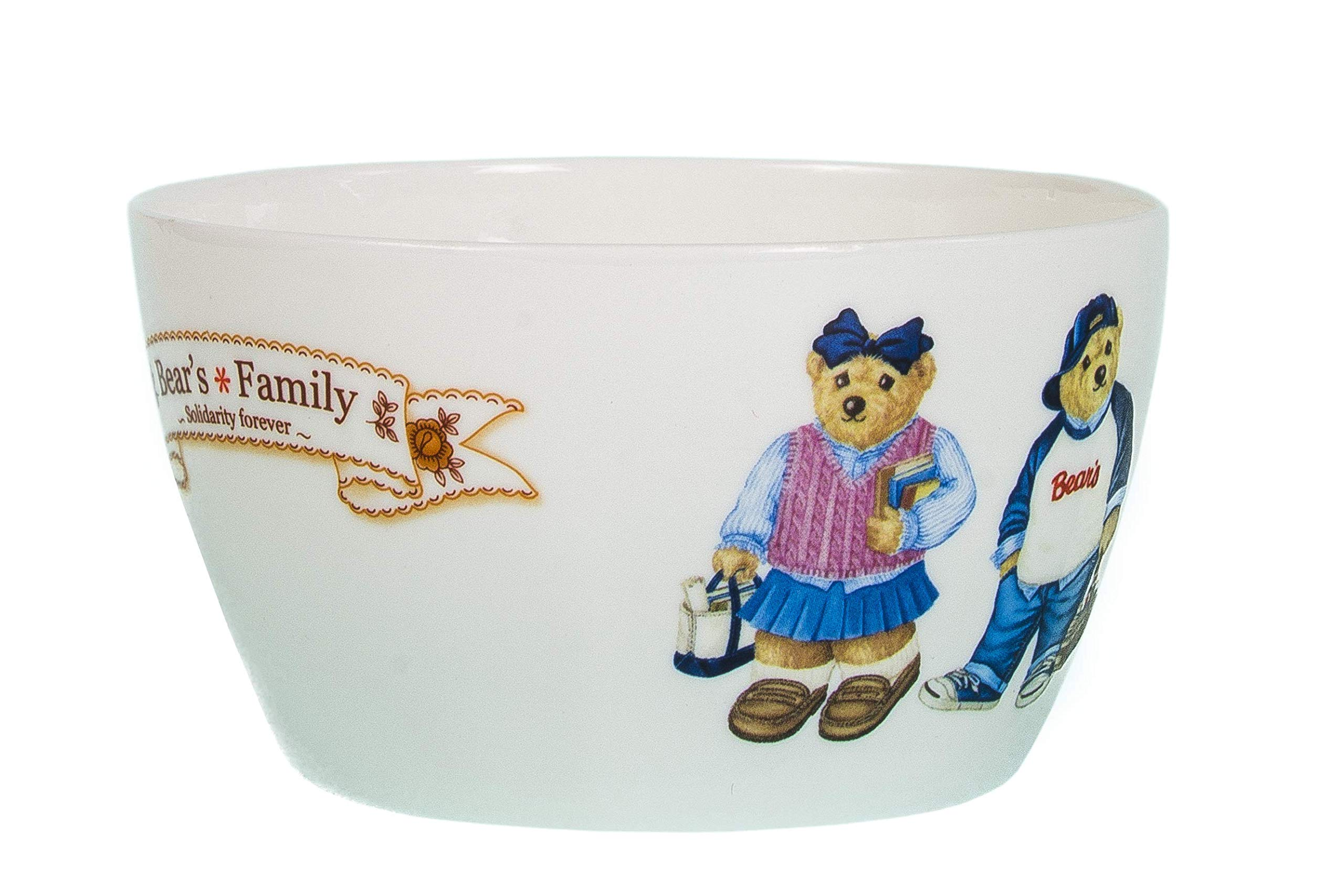 Teddy Bear Bowl: Pink and Blue, 15 Fl Oz, Premium Ceramic, BPA-Free, Kids Bowl, Cereal Bowl, Multipurpose Bowl for Salad, Fruit, Dessert, and Snacks, Perfect for Kids and Adults