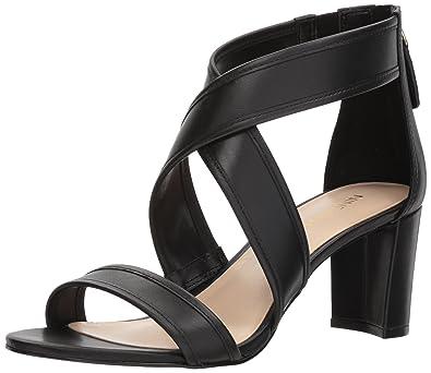 Nine West Women's Pearlita Leather Heeled Sandal, Black Leather, ...