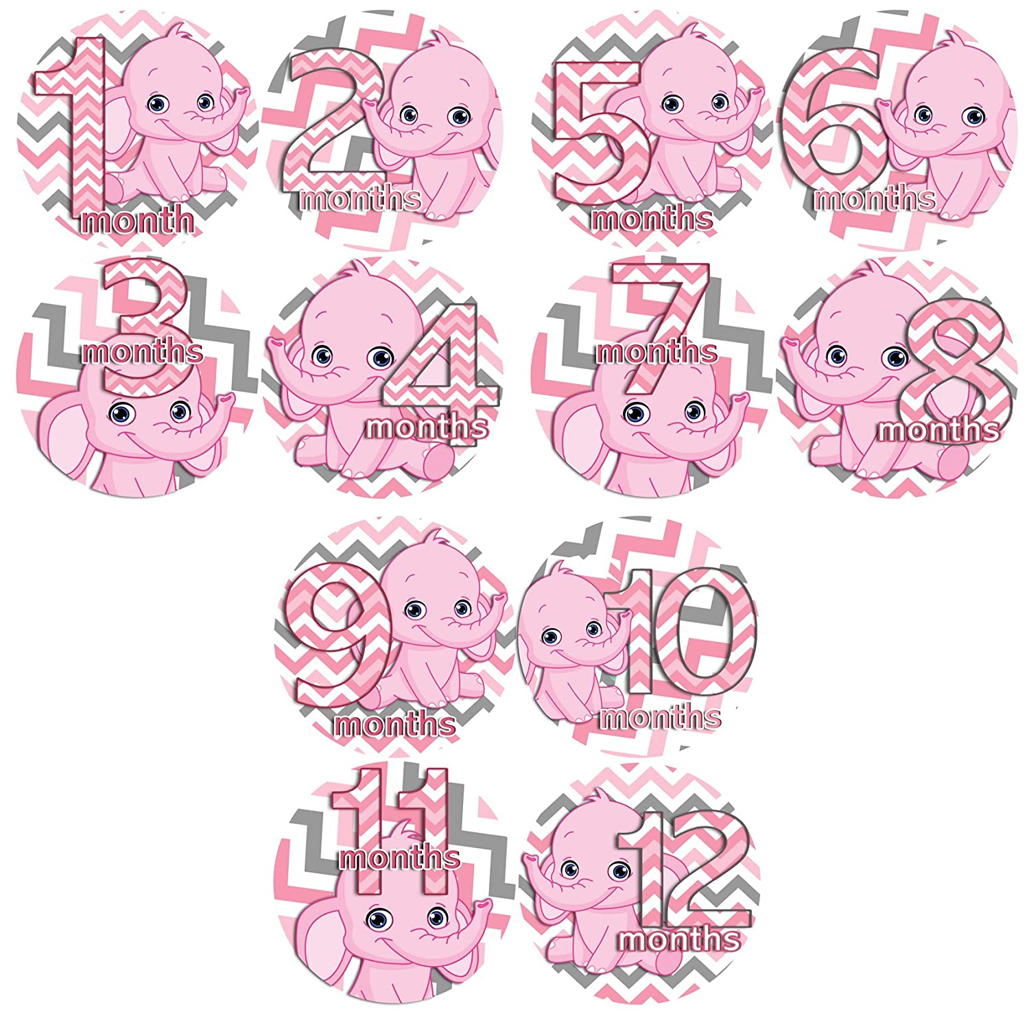 PINK GIRL CHEVRON ELEPHANTS Baby Month By Month Stickers – Baby Month Onesie Stickers Baby Shower Gift Photo Shower Stickers
