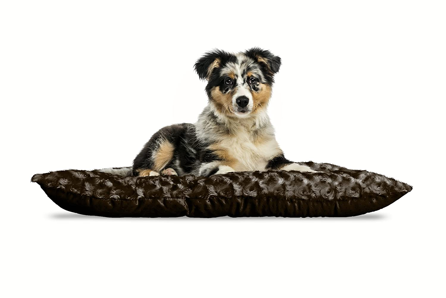 Chocolate Plush 18  x 29 Furhaven Pet Kennel Pad   Ultra Plush Tufted Pillow Pet Bed for Crates & Kennels, Strawberry, XLarge