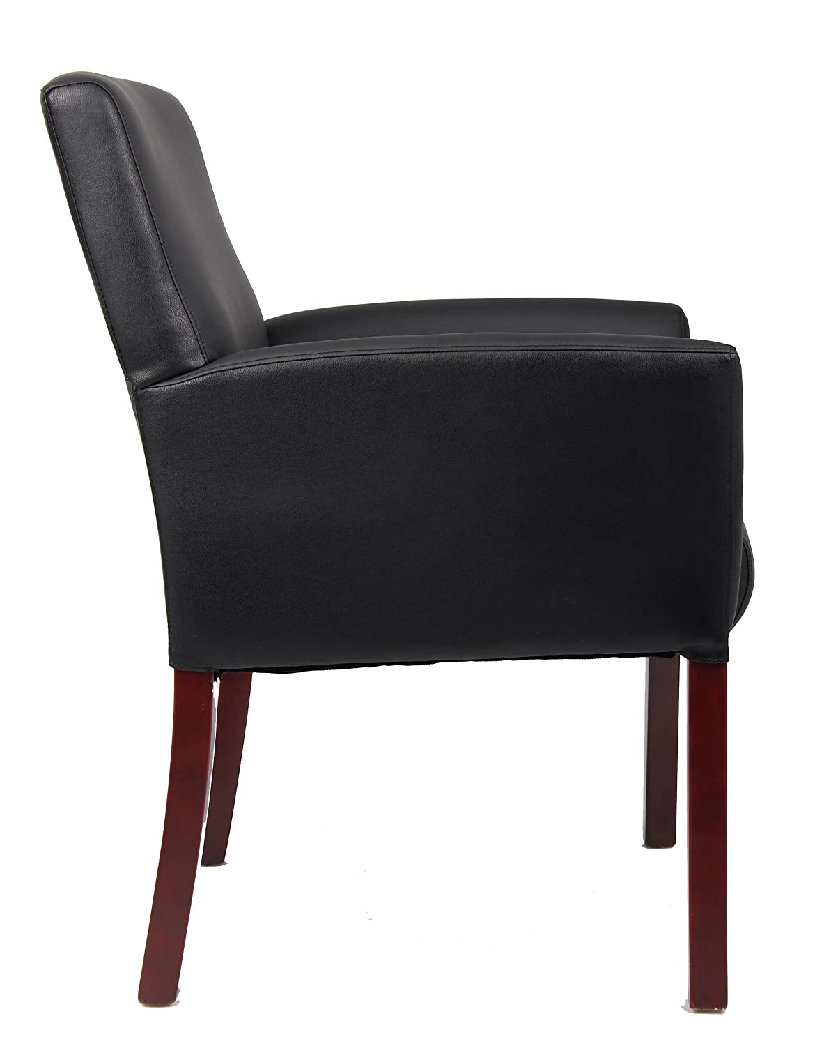 Amazon: Boss Office Products B619 Box Arm Guest Chair With Mahogany  Finish In Black: Kitchen & Dining