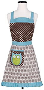 KAF Home Adult's Hostess Apron with 1 Pocket & Extra Long Ties –Adjustable Bib Hoot Apron - Machine Wash - Used in Kitchen, Gardening