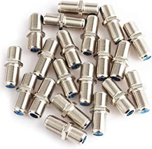Pasow F81 Barrel Connectors High Frequency 3GHz Female to Female F-Type Adapter Couplers (20 pcs, Silver)