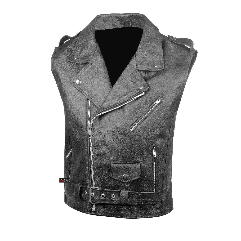 Mens Classic Leather Motorcycle Biker Concealed Carry Vintage Vest Black S
