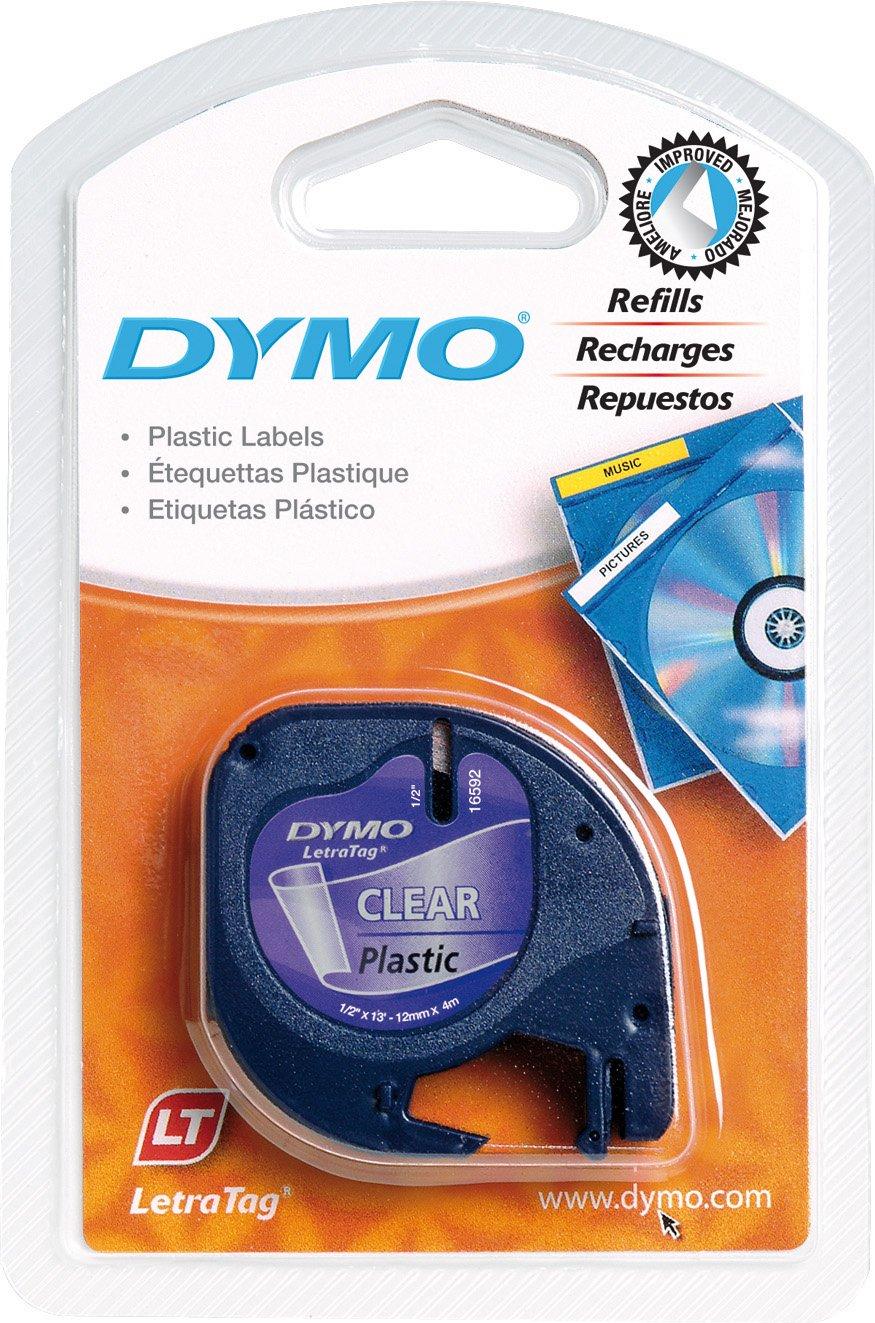 Dymo S0721690 LT-Kunststoffetiketten (Rolle mit den Maßen 12mm x 4m, Kunststoff, für LetraTag-Drucker) schwarz auf grün