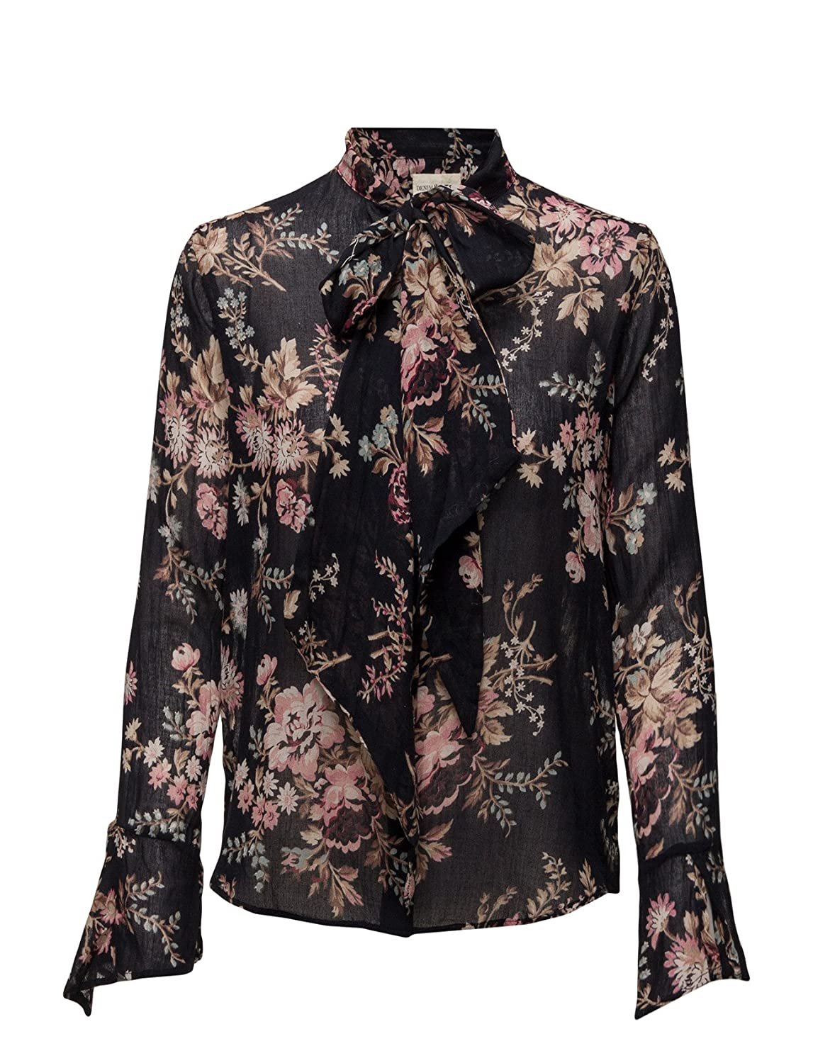 19d0f20b RALPH LAUREN Denim & Supply Women's Floral Print Tie Neck Blouse, Black  Multi (Small) at Amazon Women's Clothing store: