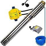 awm® Tiefbrunnenpumpe 3 Zoll AM-3STP-550-30-129 Schraubenpumpe/Screw-Funktion Tauchpumpe 550 Watt Wasserpumpe Brunnenpumpe Druckschalter AM.129 30m Kabel Max. 10 Bar