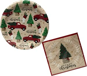 """Christmas Printed 7"""" Dessert Paper Plates and Cocktail Beverage Napkins Disposable Tableware Set Serves 50 (North Pole Farms)"""