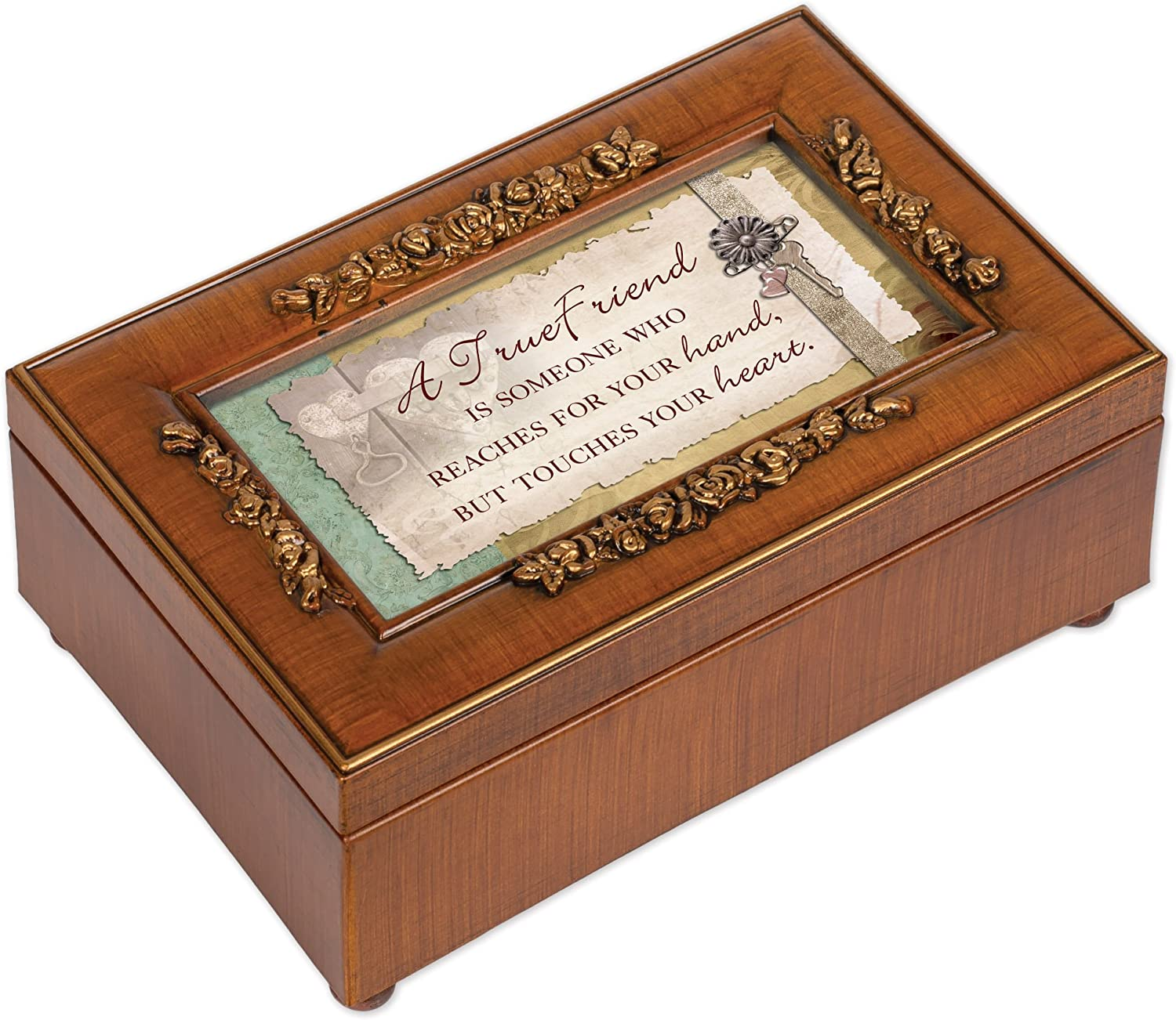 Cottage Garden A True Friend Rich Walnut Finish Petite Jewelry Music Box - Plays That?s What Friends are for