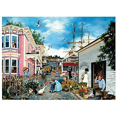 Jigsaw Puzzles for Adults 1000 Pieces Difficult Art Painting Puzzles - Port Town: Toys & Games