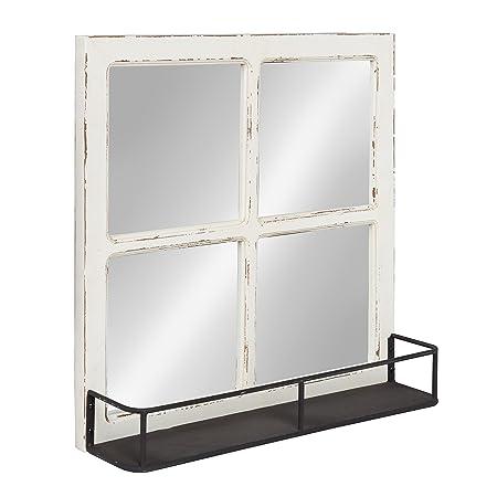 Kate and Laurel Jackson Distressed Wood Windowpane Mirror with Metal Shelf, White