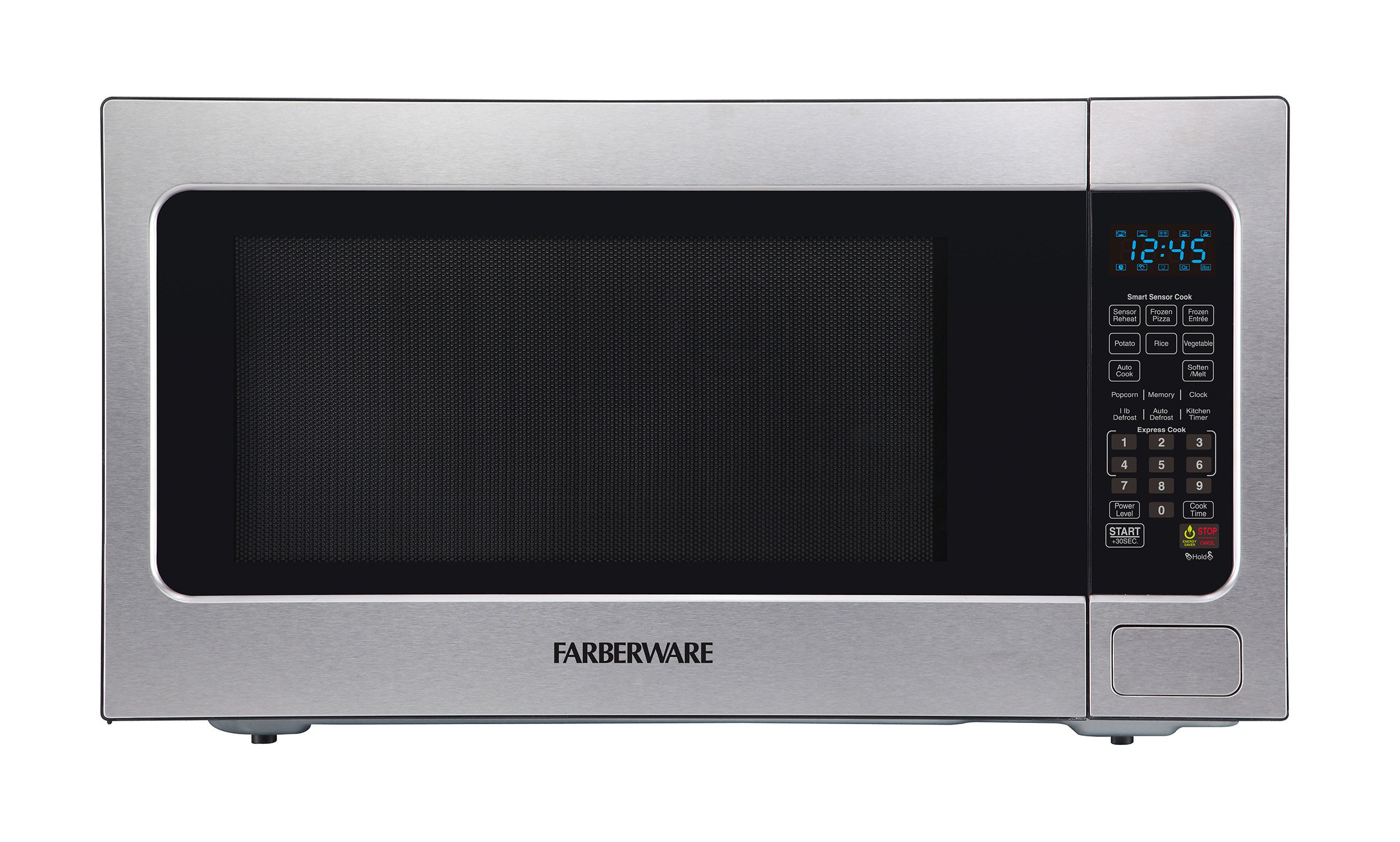 Farberware Professional FMO22ABTBKA 2.2 Cu. Ft. 1200-Watt Microwave Oven with Smart Sensor Cooking, ECO Mode and Blue LED Lighting, Stainless Steel by Farberware