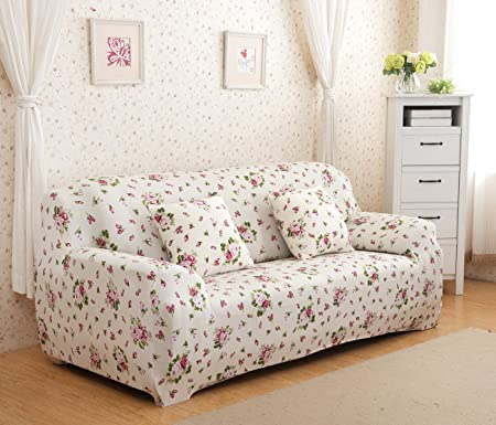 YUTIANHOME Floral Sofa Cover Stretch Fabric Couch Slipcover Settee  Protector Easy Fit For 3 Seater,