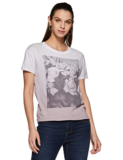 ce865f2f5 Forever 21 Women's Rose Graphic Tee Logo 191081, Medium, Grey/Black:  Amazon.in: Clothing & Accessories