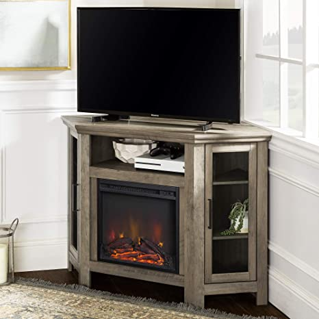 Amazon Com Walker Edison Tall Wood Corner Fireplace Stand 52 Storage Cabinets Flat Screen Universal Tv Console Living Room Shelves Entertainment Center 48 Inch Grey Wash Furniture Decor