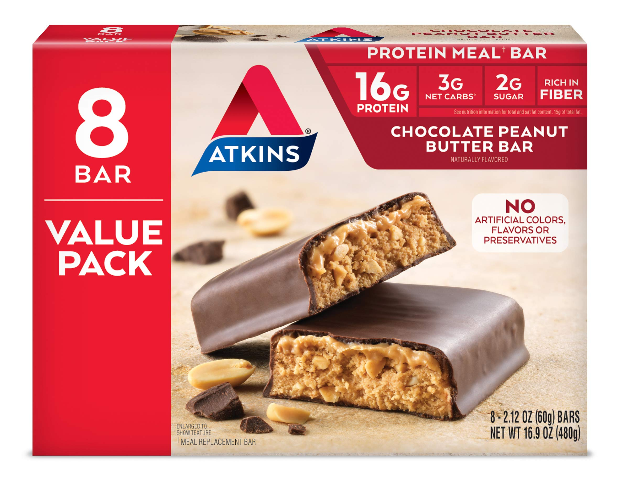 Atkins Chocolate Peanut Butter Protein Meal Bar. Rich in Fiber. Keto-Friendly. Value Pack (8 Bars)