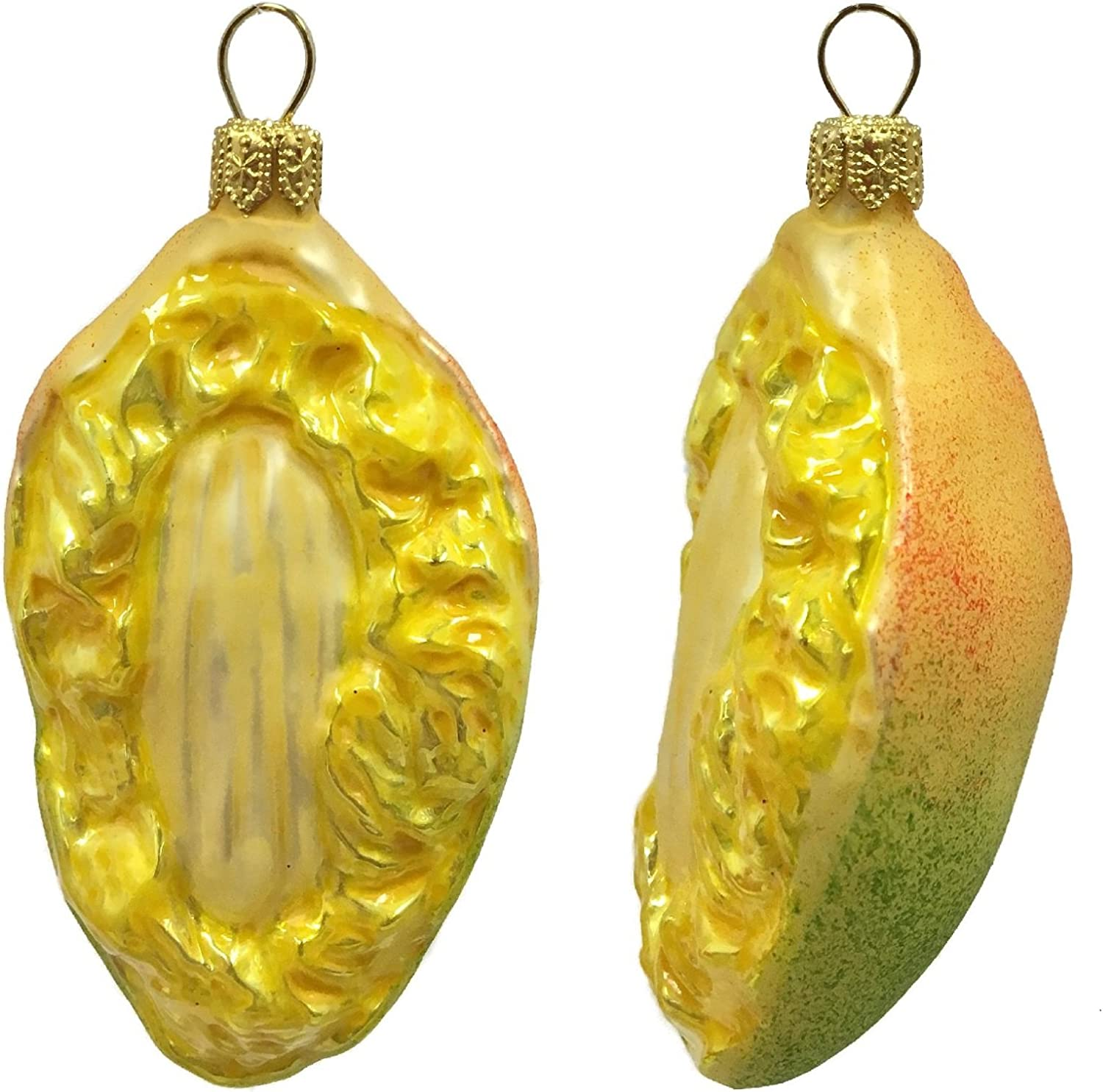 Pinnacle Peak Trading Company Slice of Mango Fruit Polish Glass Christmas Ornament Food Decoration Set of 2