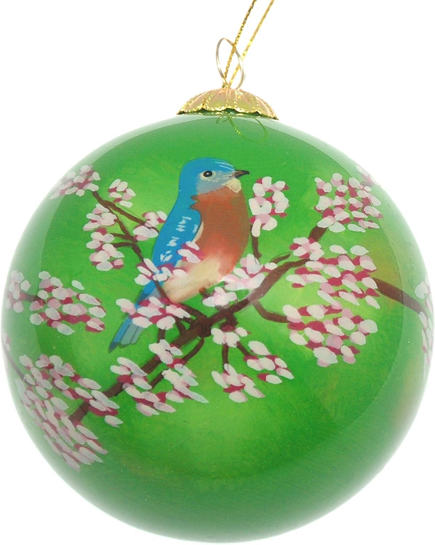 Art Studio Company Hand Painted Glass Christmas Ornament - Bluebird