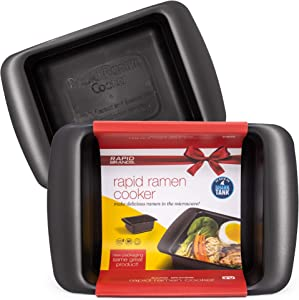 Rapid Ramen Cooker | Microwave Ramen in 3 Minutes | Perfect for Dorm, Small Kitchen, or Office | Dishwasher-Safe, Microwaveable, BPA-Free (Black 2 Pack)