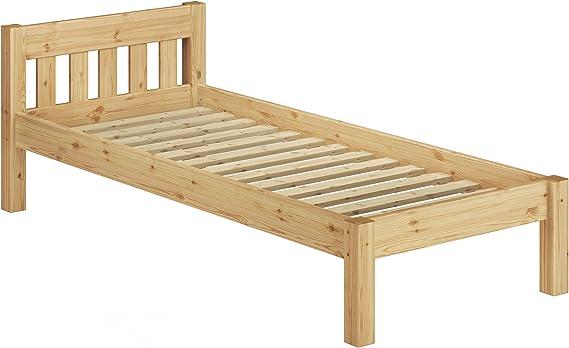 Jolie t/ête de lit Erst-Holz Lit Simple en pin Massif Naturel 90x190 avec sommier /à Lattes 60.64-09-190