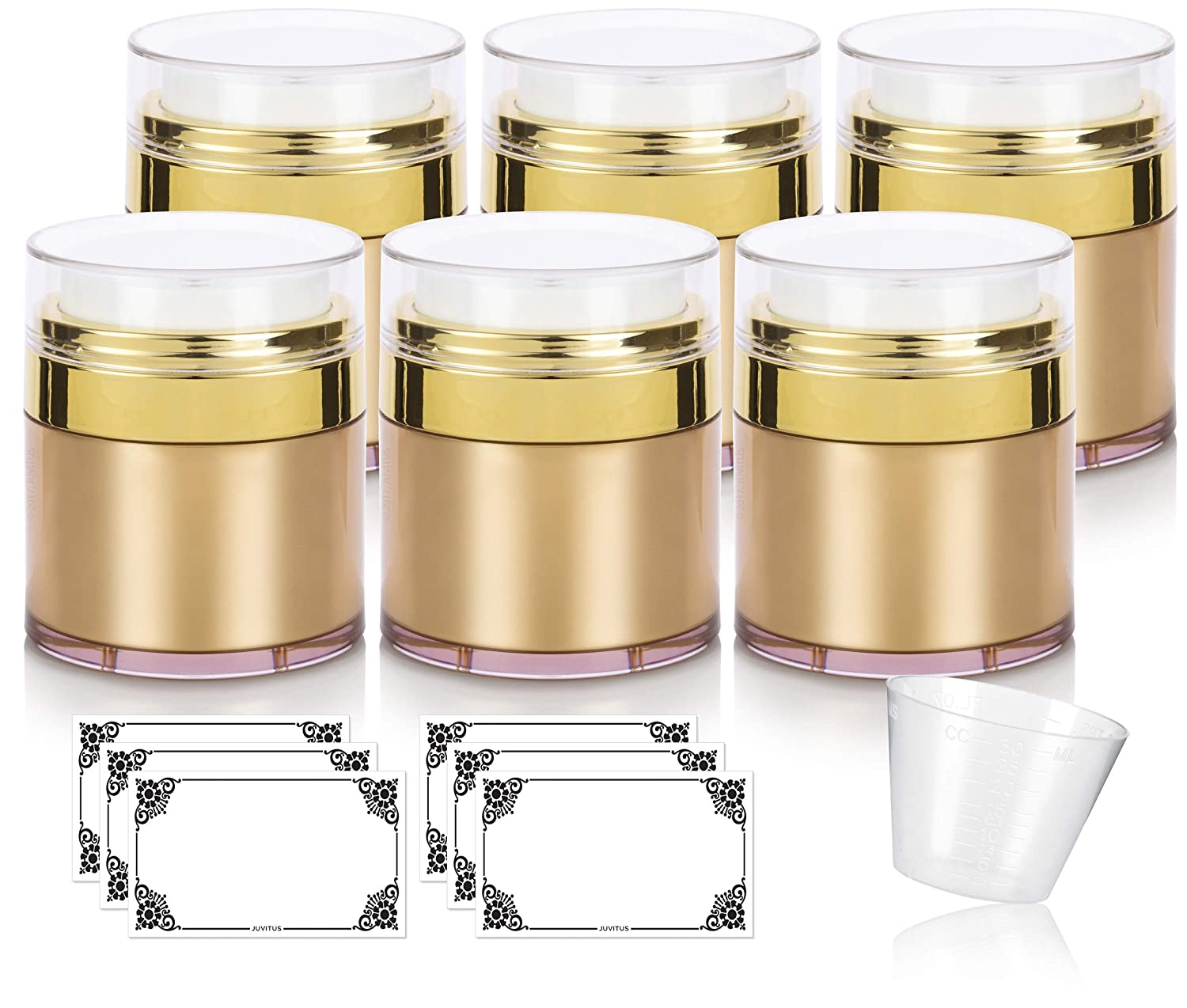 Gold Airless Refillable Jar 1.7 oz / 50 ml (6 pack) for Home or Travel, keeps out bacteria and air changing oxidation from your skin care products - durable, leak proof, and shatterproof