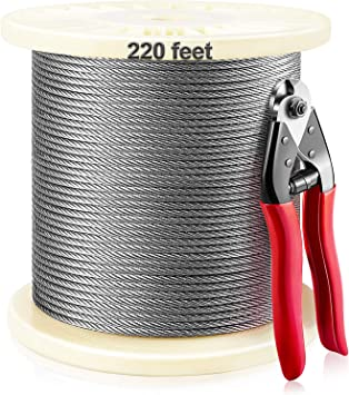 110 Ft 1//8 Inch T316 Stainless Steel Wire Rope Aircraft Cable for Cable Railing Kit,Deck Stair Railing Hardware DIY Balustrade 7x7 Strands Construction