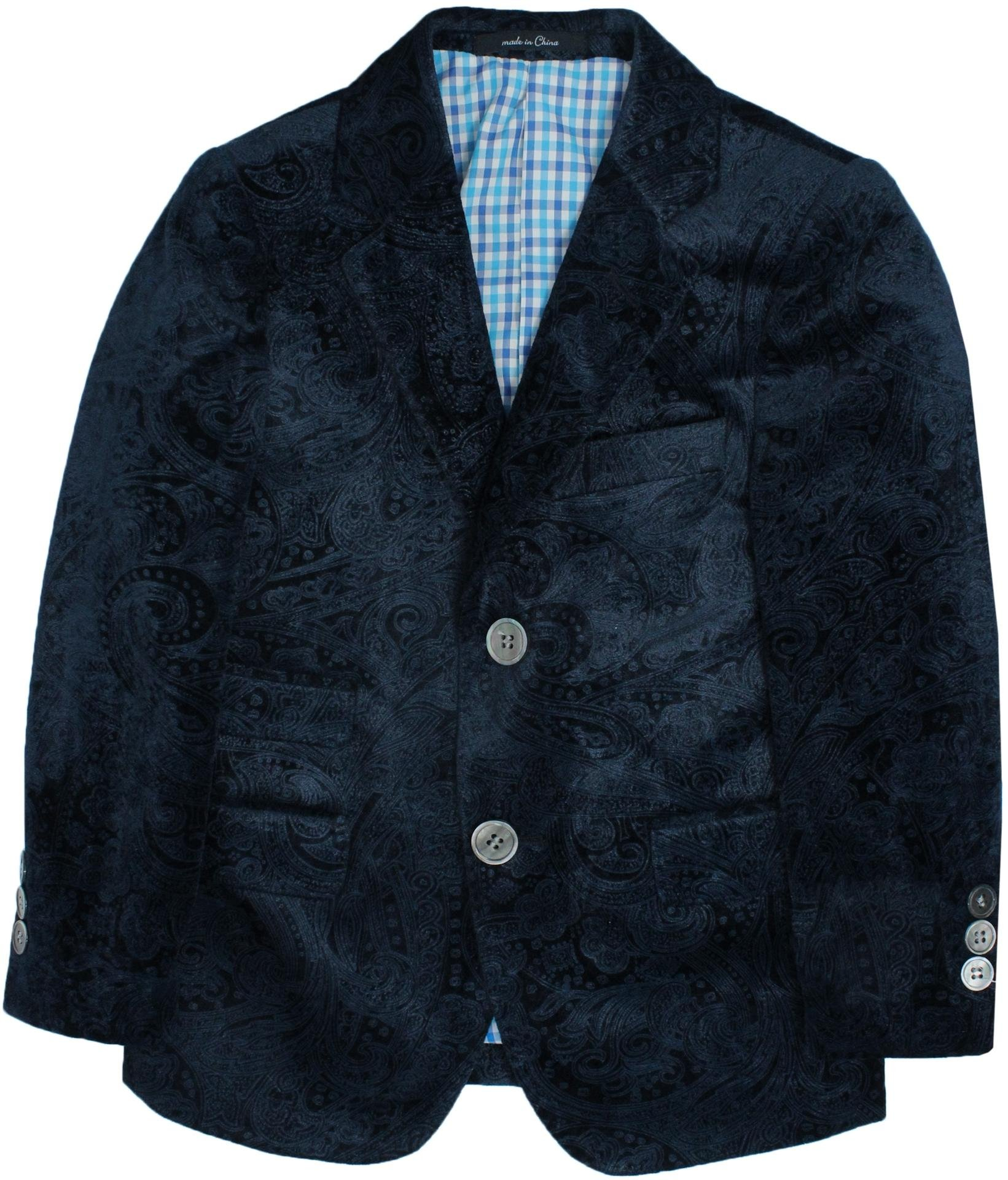 T.O. Collection Boys Navy Paisley Velvet Blazer - 6006-37 - Navy, 5 Slim by T.O. Collection
