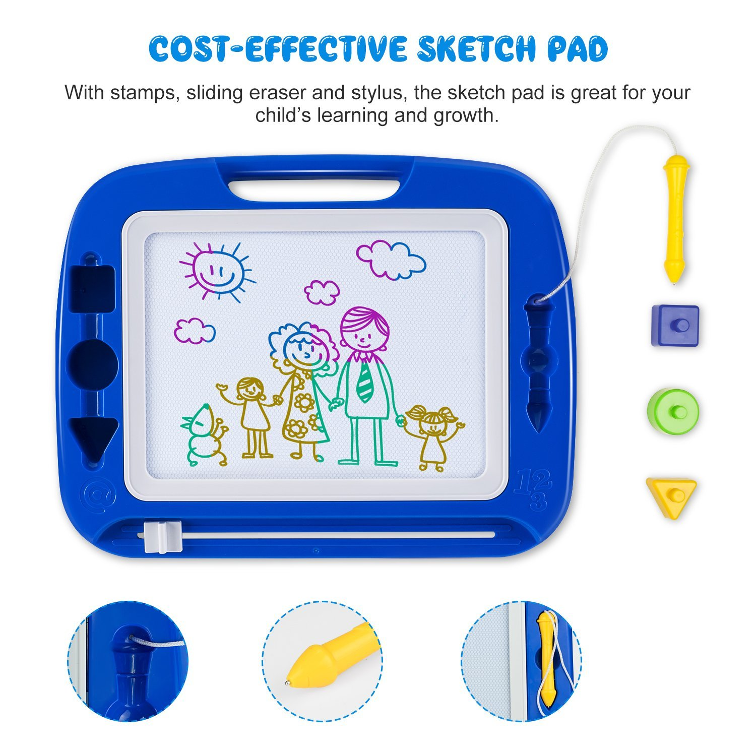 SGILE Magnetic Drawing Board, 13X16 Non-Toxic Big Magnetic Erasable Magna Doodle Toy, Assorted Colors Writing Painting Sketching Pad for Toddler Boy Girl Kids Skill Development, Blue( Extra Large) by SGILE (Image #3)